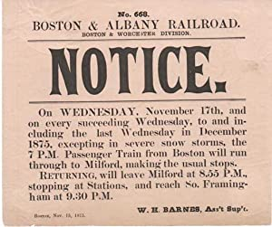 BOSTON & ALBANY RAILROAD, BOSTON & WORCESTER DIVISION. NOTICE.; No. 201. On Wednesday, November 1...