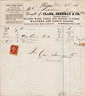 HANDWRITTEN RECEIPT ON LETTERHEAD OF CLARK, SHERMAN: Clark, Sherman &