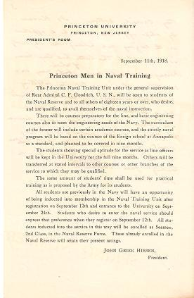 PRINCETON MEN IN NAVAL TRAINING:; The Princeton Naval Training Unit under the general supervision...