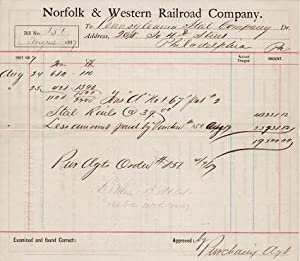 PURCHASE ORDER FOR A LOAD OF STEEL RAILS FROM THE PENNSYLVANIA STEEL COMPANY, AUGUST 1887