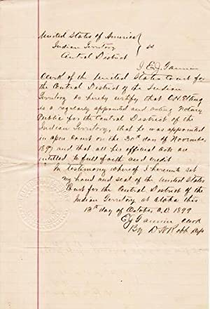 HANDWRITTEN DOCUMENT APPOINTING A NOTARY PUBLIC FOR THE CENTRAL DISTRICT OF THE INDIAN TERRITORY,...