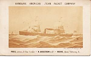 HAMBURG AMERICAN STEAM PACKET COMPANY [real-photo palm card]:; Paris, Office, 2 Rue Scribe - A. B...