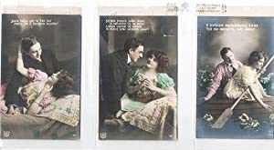 SUITE OF SIX (6) SILVER GELATIN, COLOR-EMBELLISHED POSTCARDS SHOWING COUPLES IN VARIOUS ROMANTIC ...