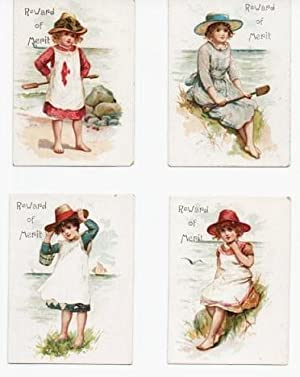 GROUP OF FOUR (4) CHROMOLITHOGRAPHED REWARDS OF MERIT