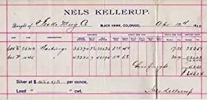 SILVER ORE RECEIPT ON THE BILLHEAD OF NELS KELLERUP--BLACK HAWK, COLORADO, APRIL 12, 1892