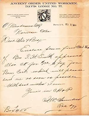 HANDWRITTEN LETTER (ALS) ON LETTERHEAD WITH LOGO OF THE ANCIENT ORDER UNITED WORKMEN, DAVIS LODGE...