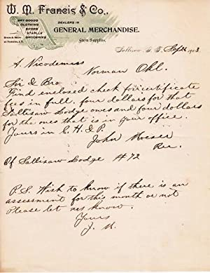 HANDWRITTEN LETTER (ALS) ON LETTERHEAD OF W.M. FRANCIS & CO., GENERAL MERCHANDISE: Datelined Sull...