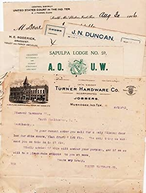 GROUP OF NINE (9) HANDWRITTEN LETTERS AND RECEIPTS ON LETTERHEADS AND BILLHEADS FROM VARIOUS I.T....