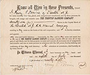 PRINTED TRANSFER OF 71 SHARES IN THE UNITED N.J. R.R. & CANAL COMPANY FROM HENRY P. PERRINE OF TR...