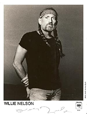 SIGNED, PROFESSIONAL PHOTOGRAPH OF WILLIE NELSON:; black-and-white: Nelson, Willie