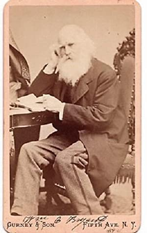 SIGNED* CARTE DE VISITE OF AMERICAN POET, WILLIAM CULLEN BRYANT, PHOTOGRAPHED BY GURNEY