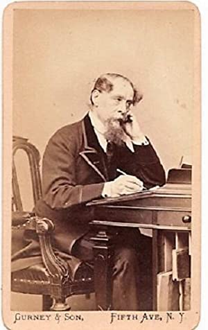 CARTE DE VISITE OF ENGLISH NOVELIST CHARLES DICKENS, PHOTOGRAPHED BY GURNEY