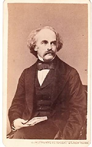 CARTE DE VISITE OF AMERICAN AUTHOR NATHANIEL HAWTHORNE, PHOTOGRAPHED BY WARREN STUDIOS
