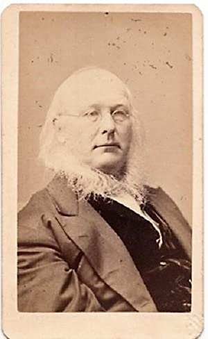CARTE DE VISITE OF NEWSPAPER PUBLISHER, HORACE GREELEY. PHOTOGRAPHED BY BOGARDUS GALLERIES