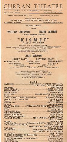WILLIAM JOHNSON & ELAINE MALBIN IN EDWIN: KISMET