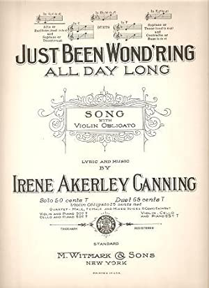 JUST BEEN WOND'RING ALL DAY LONG: Song: Just Been.sheet music