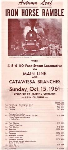 AUTUMN LEAF IRON HORSE RAMBLE, WITH 4-8-4 110-FOOT STEAM LOCOMOTIVE VIA MAIN LINE AND CATAWISSA B...