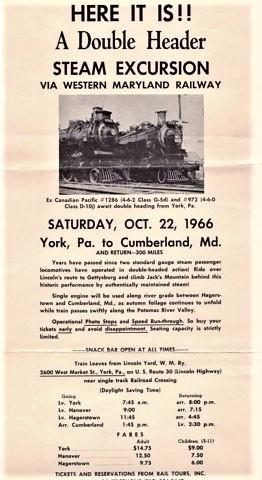 HERE IT IS!! A DOUBLE HEADER STEAM EXCURSION VIA WESTERN MARYLAND RAILWAY.OCT. 22, 1966.YORK, PA....