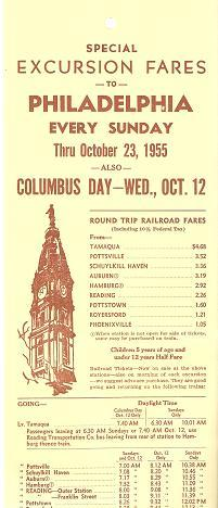 SPECIAL EXCURSION FARES TO PHILADELPHIA EVERY SUNDAY THRU OCTOBER 23, 1955.ROUND TRIP RAILROAD FA...