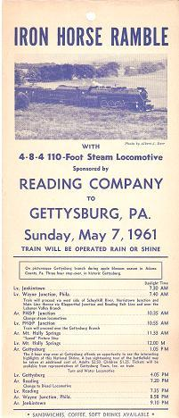 IRON HORSE RAMBLE WITH 4-8-4 110-FOOT STEAM LOCOMOTIVE.TO GETTYSBURG.NATIONAL SHRINE.APPLE BLOSSO...