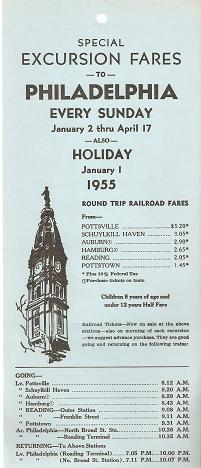 SPECIAL EXCURSION FARES TO PHILADELPHIA EVERY SUNDAY, JANUARY 2 THRU APRIL 17-ALSO.JANUARY 1, 195...