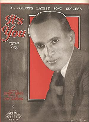 IT'S YOU: Fox Trot Song. Al Jolson's: It's you.sheet music