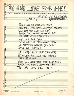 THE ONE LOVE FOR ME. Music by: One Love.sheet music