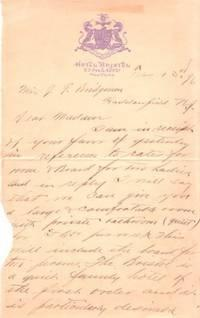 HANDWRITTEN LETTER ON HOTEL LETTERHEAD, TO A HADDENFIELD, NJ, WOMAN RE A ROOM FOR TWO LADIES, New ...