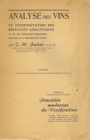 Analyse des vins et interpretation des resultats analytiques en vue des transactions commerciales ...