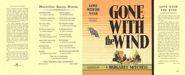 gone with the wind facsimile dust jacket for the first issue book