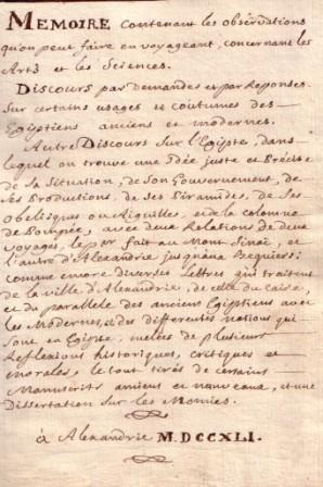 Manuscrit sur l'Egypte 1741: Sicard & Missions Egypte