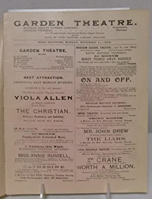 Garden Theatre 1898 program Madison Square Garden Company Proprietors: Charles Frohman, Manager