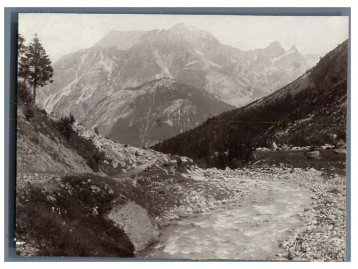 France, Pralognan-la-Vanoise, Torrent du Daron Photographie originale / Original photograph Photographie,Vintage citrate print. // Circa 1903 // Tirage citrate // Format (cm): 8x11