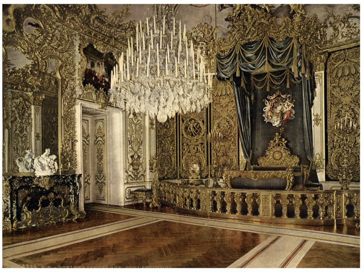 Schloss Linderhof, Schlafzimmer. von Photographie originale ...