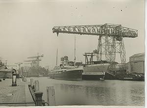 Pays Bas, Port de Rotterdam ?, 1930: Photographie originale /