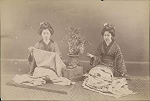 Japan, Japanese Girls making Kimonos