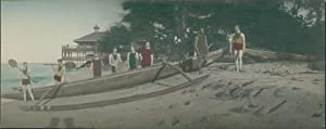 Japan, Panoramic View. Group of Europeans on the beach