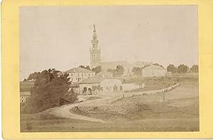 J. Caron. France, Jannot café et église: Photographie originale /