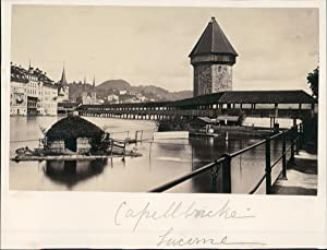 Switzerland, Capellbrücke in Lucerne, ca. 1870