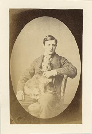 United Kingdom, Gentlemen posing with his dog