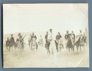 Algérie, Chellala (?????), Galopade de Spahis: Photographie originale /