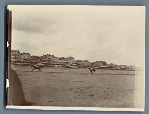 France, Les Sables-d'Olonne, Les courses de chevaux: Photographie originale /