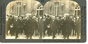 STEREO France, Versailles, Clemenceau, Wilson and Lloyd George leaving Palace of Versailles after...