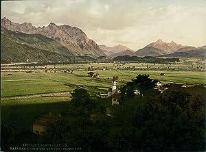 Wallgau und Krim mit Karwendelgebirge.: Photographie originale /