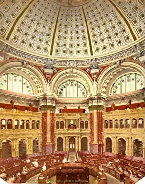 District of Colombia. Washington. Library of Congress. Reading Room in Rotunda. Détroit Photograp...