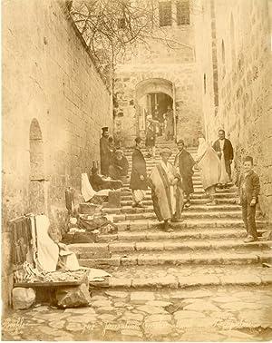 Fiorillo. Palestine, Jérusalem, le lavement des pieds: Photographie originale /