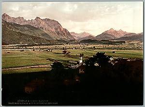 Ober-Bayern, Wallgau und Krim mit Karwendelgebirge.: Photographie originale /