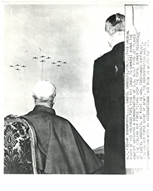 Gandolfo Castle, Pope Pius XII watching a demonstration of U.S. built F-86