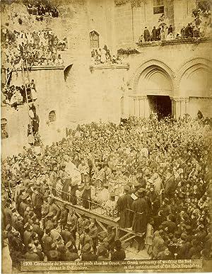 Bonfils. Palestine, St. Sépulcre, Cérémonie du lavement: Photographie originale /
