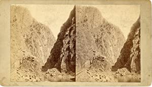STEREO, États-Unis, Royal Gorge, Grand Canyon of the Arkansas, vintage albumen print